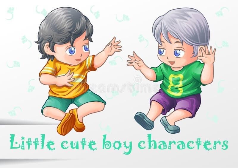 2 pequeños caracteres lindos del muchacho ilustración del vector