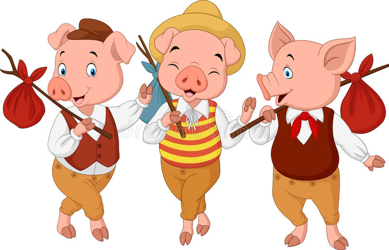 Pequeños cerdos de la historieta tres libre illustration