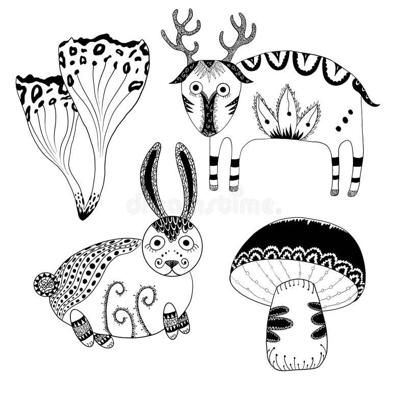 Peque?os ciervos lindos m?sticos, conejito lindo y setas de encaje del bosque L?nea a mano sistema del bosque misterioso del arte stock de ilustración