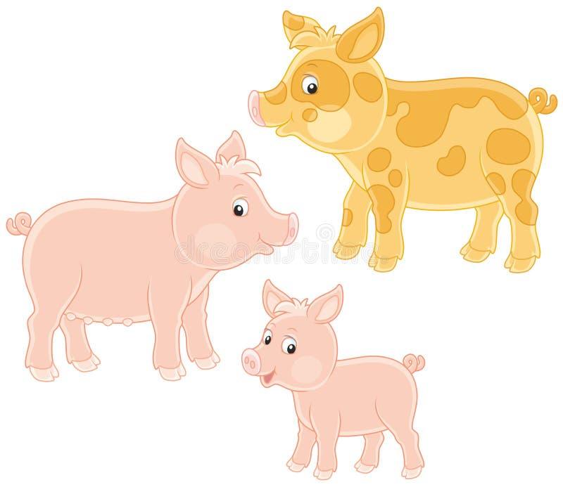 Pequeños cochinillo, cerdo y cerdo rosados stock de ilustración
