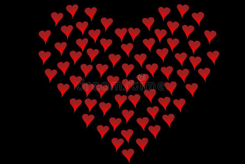 Pequeños corazones formados como corazón grande fotografía de archivo