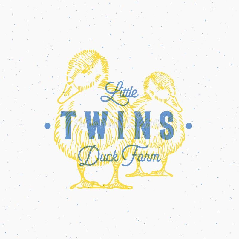 Pequeños gemelos Duck Farm Abstract Vector Sign, símbolo o Logo Template La mano dibujada Ducks Sillhouettes con retro stock de ilustración