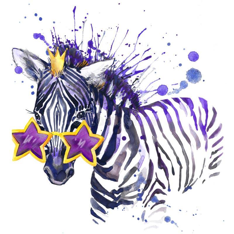 pequeños gráficos de la camiseta de la cebra el pequeño ejemplo de la cebra con la acuarela del chapoteo texturizó el fondo water stock de ilustración