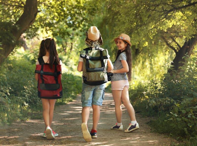 Pequeños niños con las mochilas en la trayectoria en desierto fotografía de archivo
