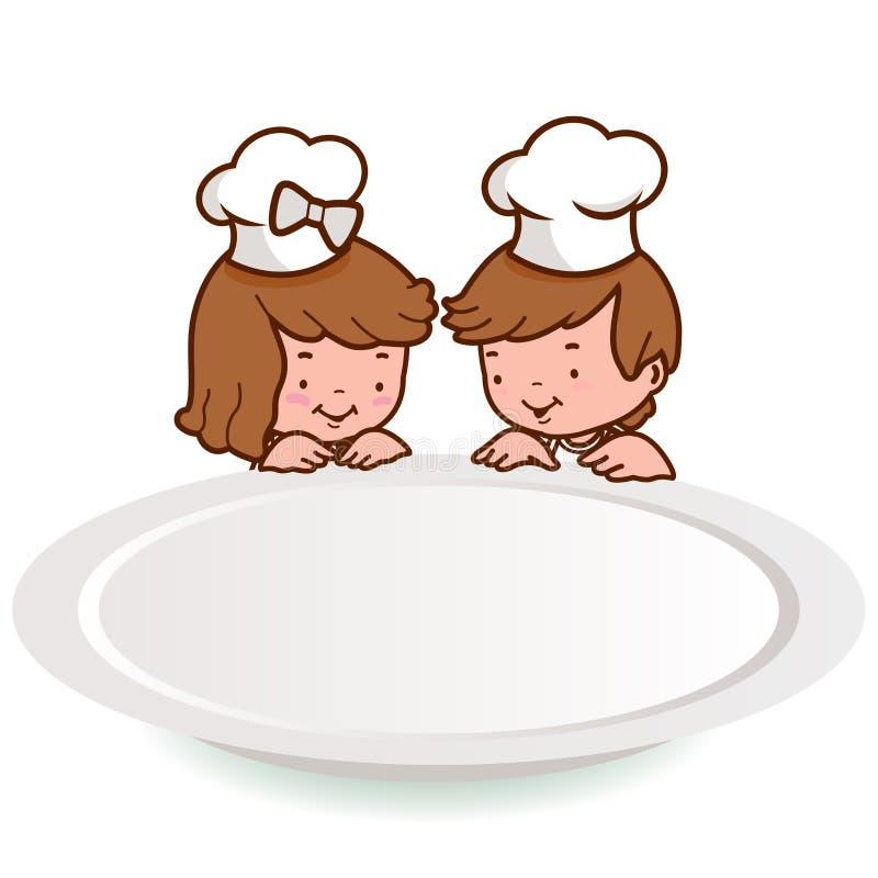 Pequeños niños del cocinero que miran sobre una placa en blanco stock de ilustración