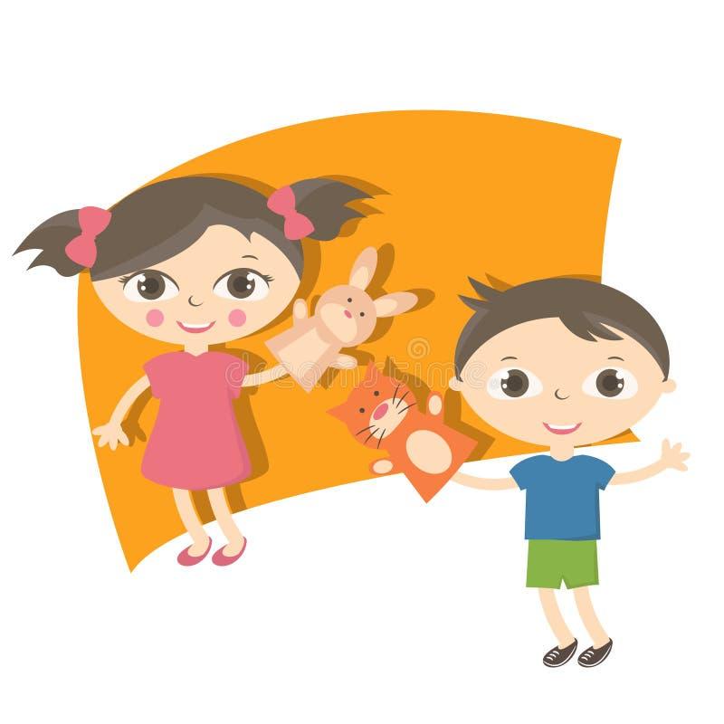 Pequeños niños del ejemplo con el juguete de la marioneta de mano ilustración del vector