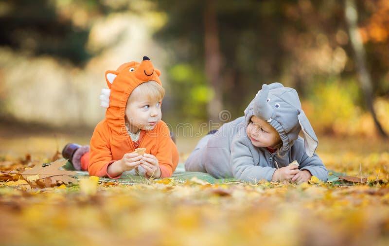 Pequeños niños en los trajes animales que juegan en bosque del otoño imagenes de archivo