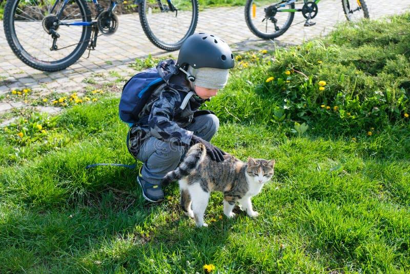 Pequeños niños felices con jugar al aire libre de los pequeños gatos imágenes de archivo libres de regalías