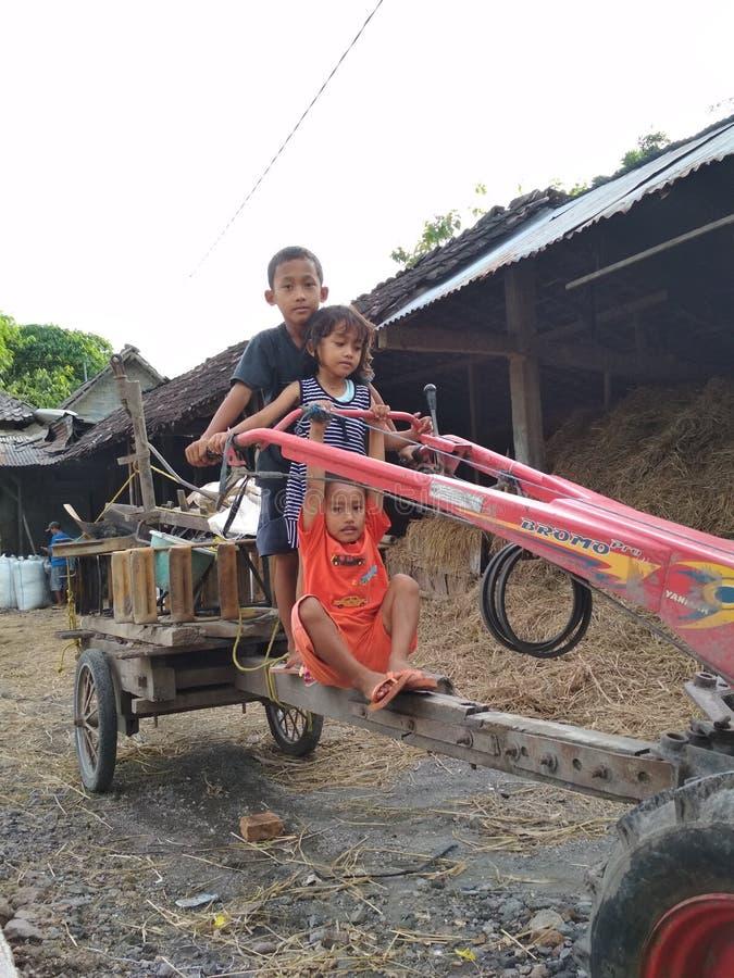 Pequeños niños y tractores foto de archivo