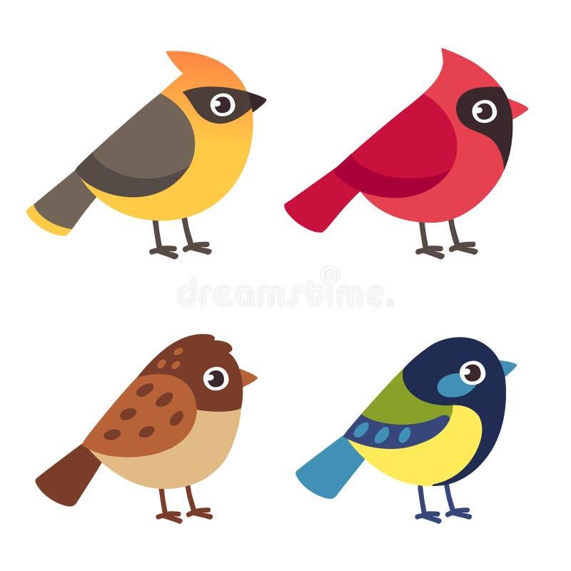 Pequeños pájaros fijados ilustración del vector