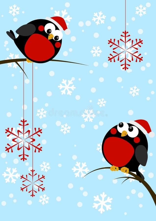 Pequeños pájaros lindos con los copos de nieve de la Navidad ilustración del vector