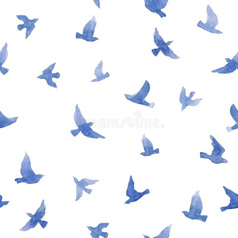 Pequeños pájaros lindos Modelo inconsútil para el diseño de la moda watercolor ilustración del vector