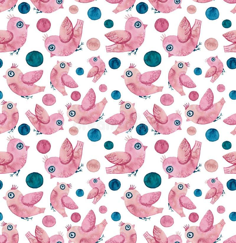 Pequeños pájaros rosados de la acuarela y Dots Seamless Texture azul profundo ilustración del vector