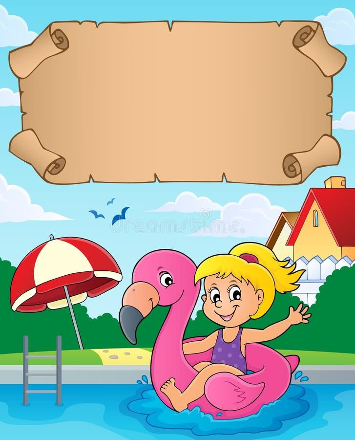 Pequeños pergamino y muchacha en el flotador libre illustration