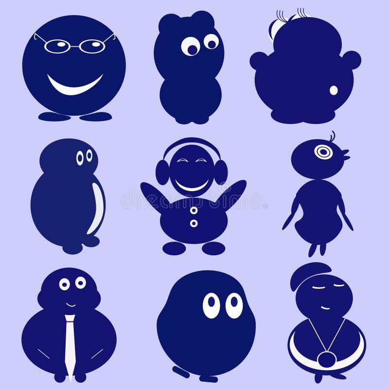 Pequeños personajes de dibujos animados divertidos ilustración del vector