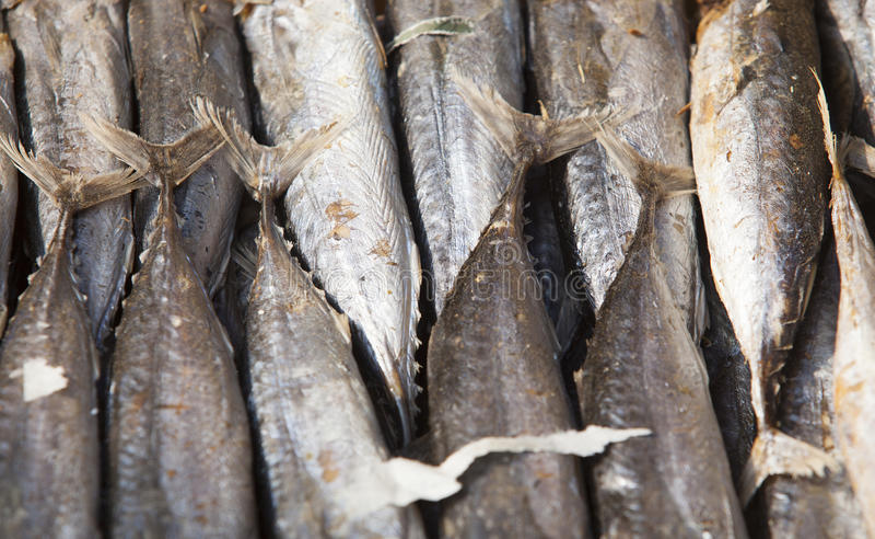 Pequeños pescados secados usados en cocina asiática imagen de archivo libre de regalías