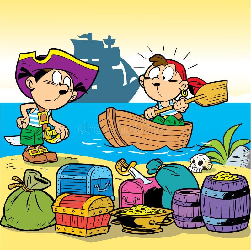 Pequeños piratas stock de ilustración