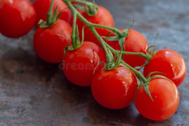Pequeños tomates de cereza rojos brillantes orgánicos frescos con la rama verde en fondo rústico marrón y negro oscuro del metal fotografía de archivo