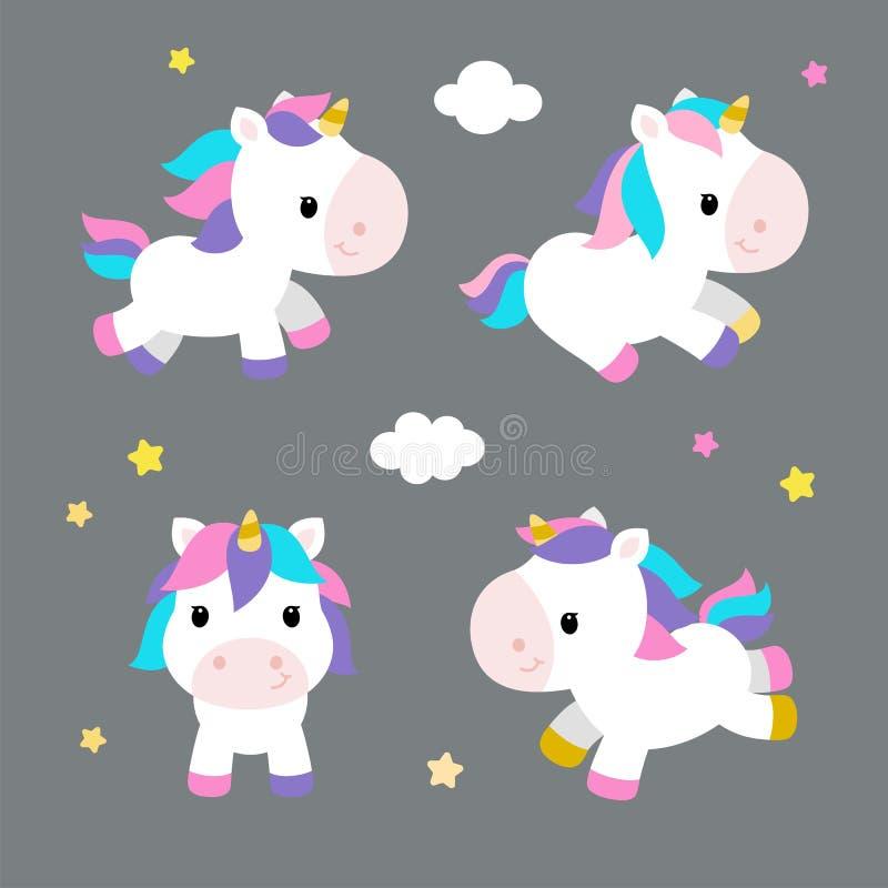 Pequeños unicornios en estilo plano moderno en fondo gris ilustración del vector