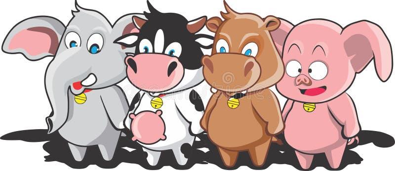 Pequeños vaca y amigos libre illustration