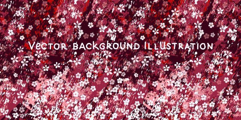 Peque?as flores blancas en el fondo de m?rmol texturizado de Borgo?a, del rosa y blanco stock de ilustración