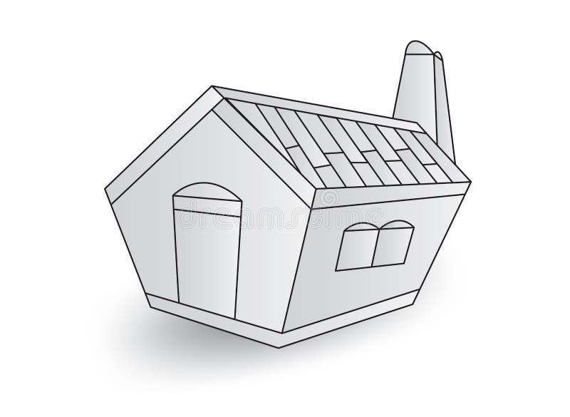 Peque?a casa blanca, ejemplo del vector de la cabina de la casa, historieta libre illustration