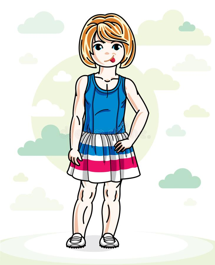 Peque?a muchacha feliz del pelirrojo que presenta en fondo con las nubes azules de los cielos y la ropa casual de moda que lleva stock de ilustración