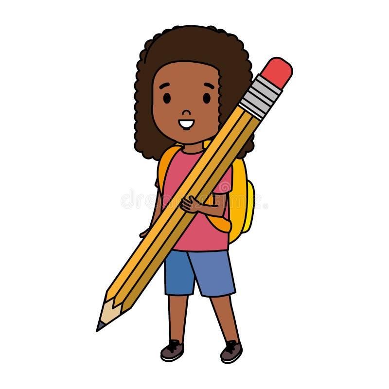 Peque?a muchacha negra del estudiante con el l?piz libre illustration