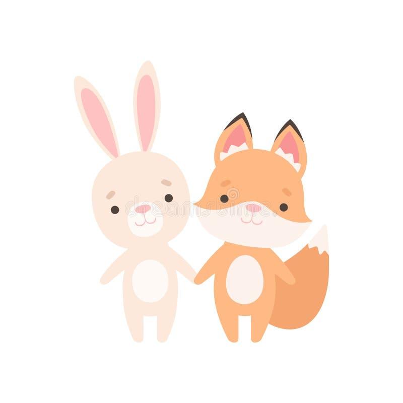 Peque?o conejito blanco precioso y Fox Cub, mejores amigos lindos, conejo adorable y ejemplo del vector de los personajes de dibu ilustración del vector