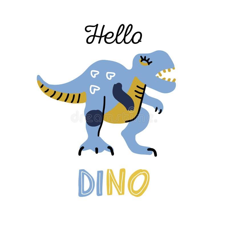 Peque?o dinosaurio de la historieta Car?cter exhausto del vector de Dino de la mano linda del color Clipart plano de T-rex con po stock de ilustración