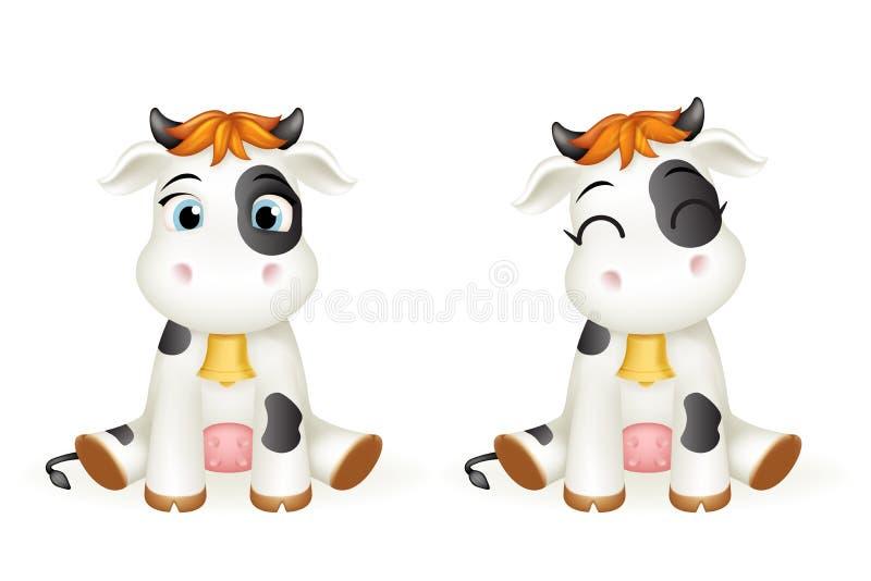 Peque?o ejemplo lindo del vector del dise?o de personaje de dibujos animados del cachorro del juguete del becerro de la vaca 3d d ilustración del vector