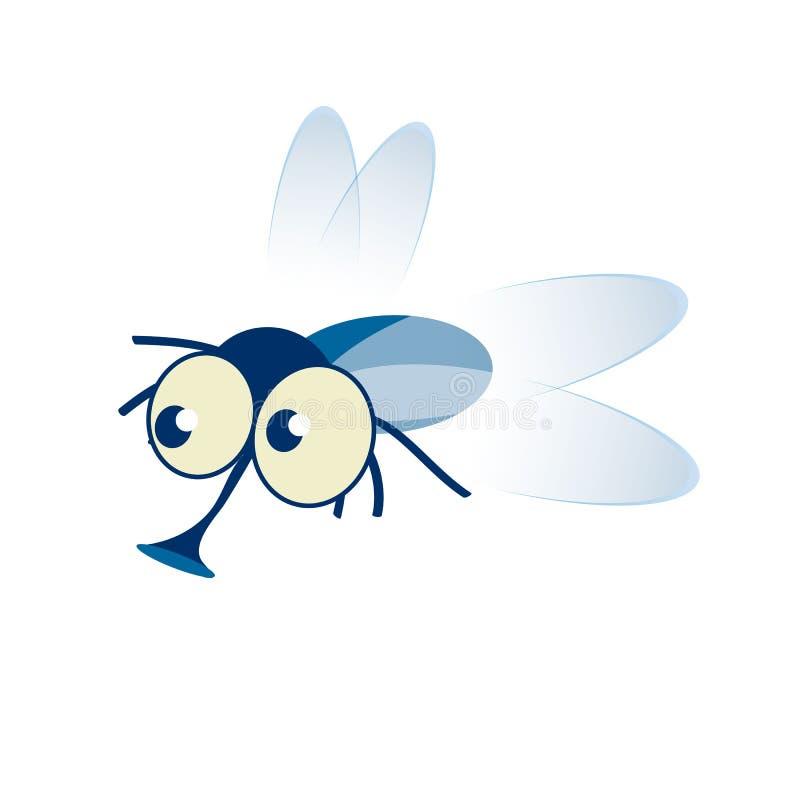 Peque?o insecto lindo de la mosca de la historieta en azul con ojos googly grandes y una prob?scide que resalta stock de ilustración