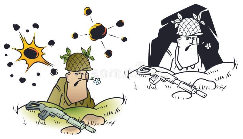 Peque?os hombres divertidos Soldado en fosos ilustración del vector