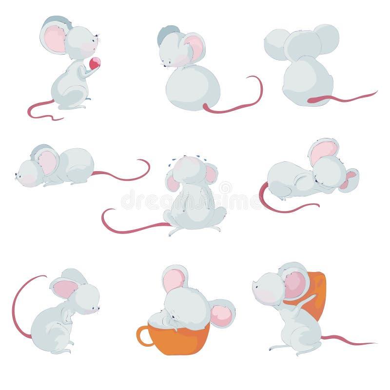 Peque?os ratones lindos Ilustraci?n del vector en el fondo blanco ilustración del vector