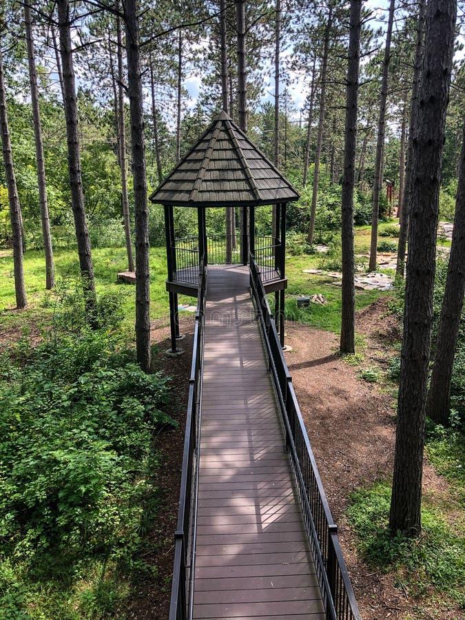 Pequena casa de árvores no Jardim Botânico Monk em Wausau, Wisconsin fotos de stock