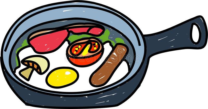 Pequeno almoço fritado ilustração royalty free