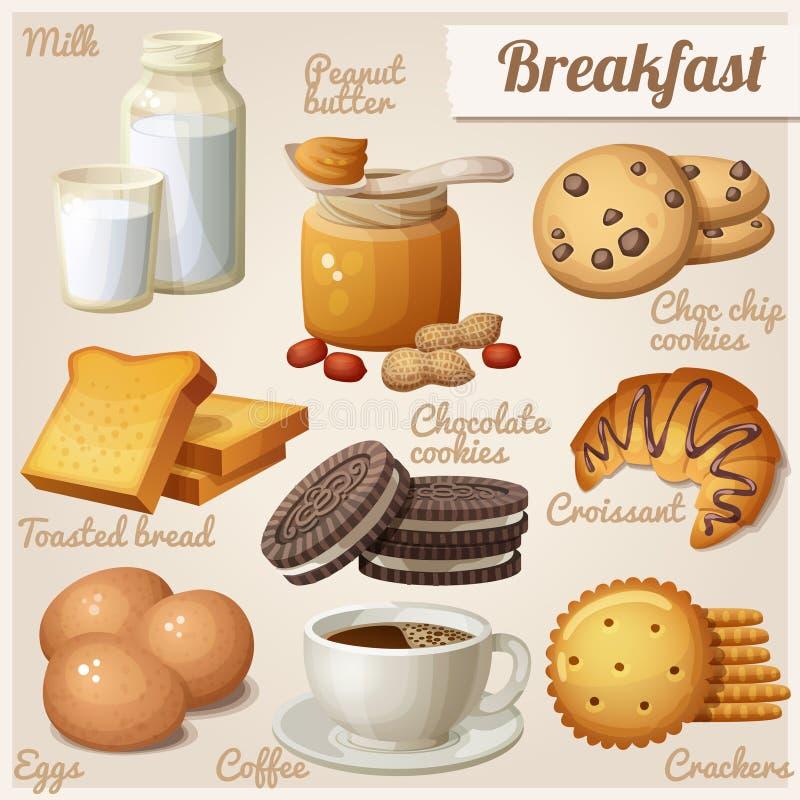Pequeno almoço 3 Grupo de ícones do alimento do vetor dos desenhos animados ilustração stock
