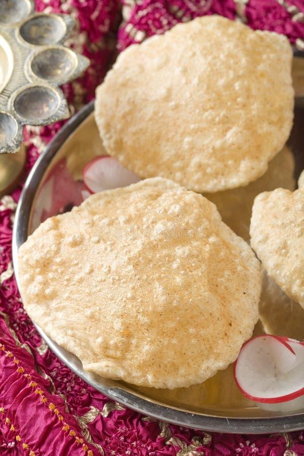 Pequeno almoço indiano, Puri. imagem de stock
