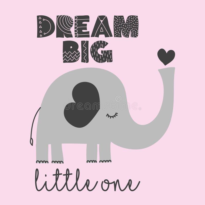 Pequeno grande o ideal - decoração bonito do elefante ilustração stock