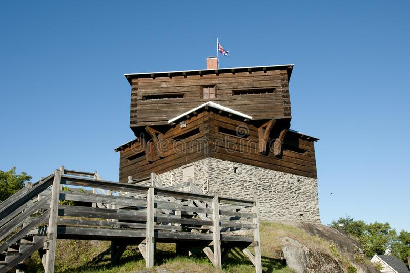 Pequeno Sault Blockhouse histórico - Edmundston - Novo Brunswick fotografia de stock