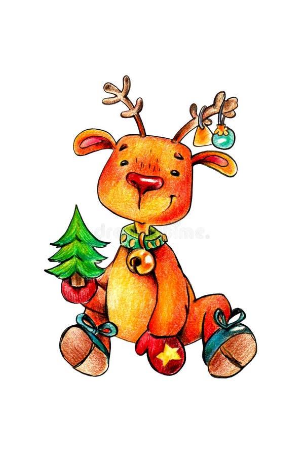 Pequeno, veados vermelhos com uma árvore de Natal nas mãos e nos brinquedos do Natal nos chifres ilustração royalty free