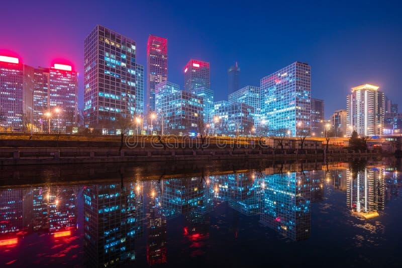 Pequim CBD na noite imagem de stock