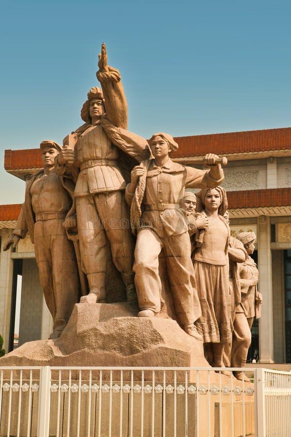 Pequim China 06 06 Monumento 2018 na frente do mausoléu de Mao na Praça de Tiananmen fotografia de stock