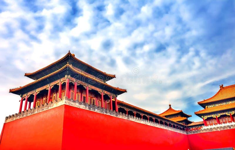 Pequim lateral meridiano do palácio de Gugong a Cidade Proibida da entrada da porta imagens de stock