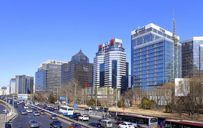 Pequim segundo Ring Road ocidental, rua financeira do Pequim imagens de stock