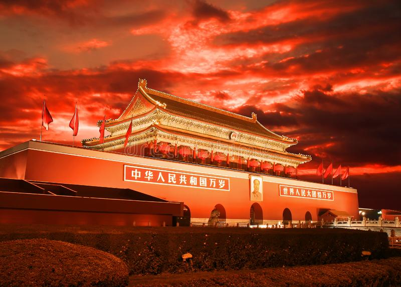 Pequim Tiananmen no por do sol foto de stock royalty free