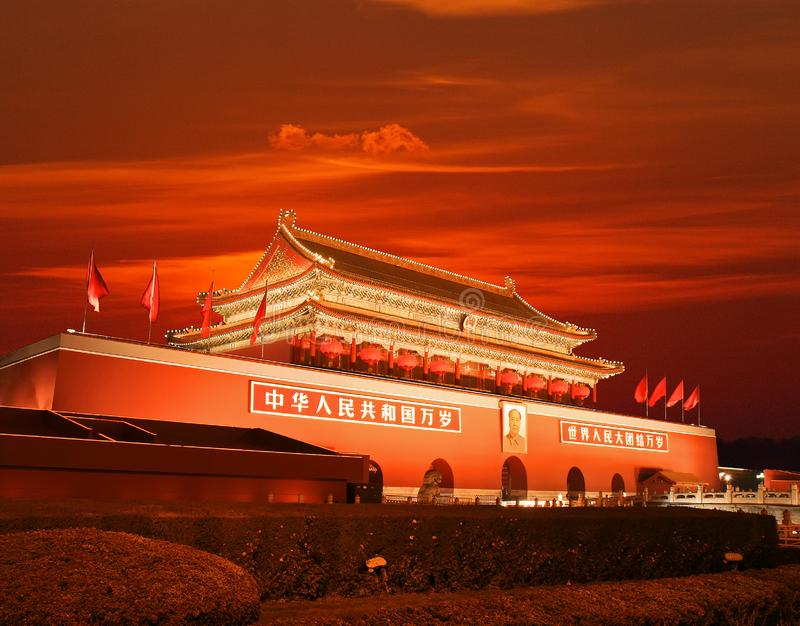 Pequim Tiananmen no por do sol fotos de stock royalty free