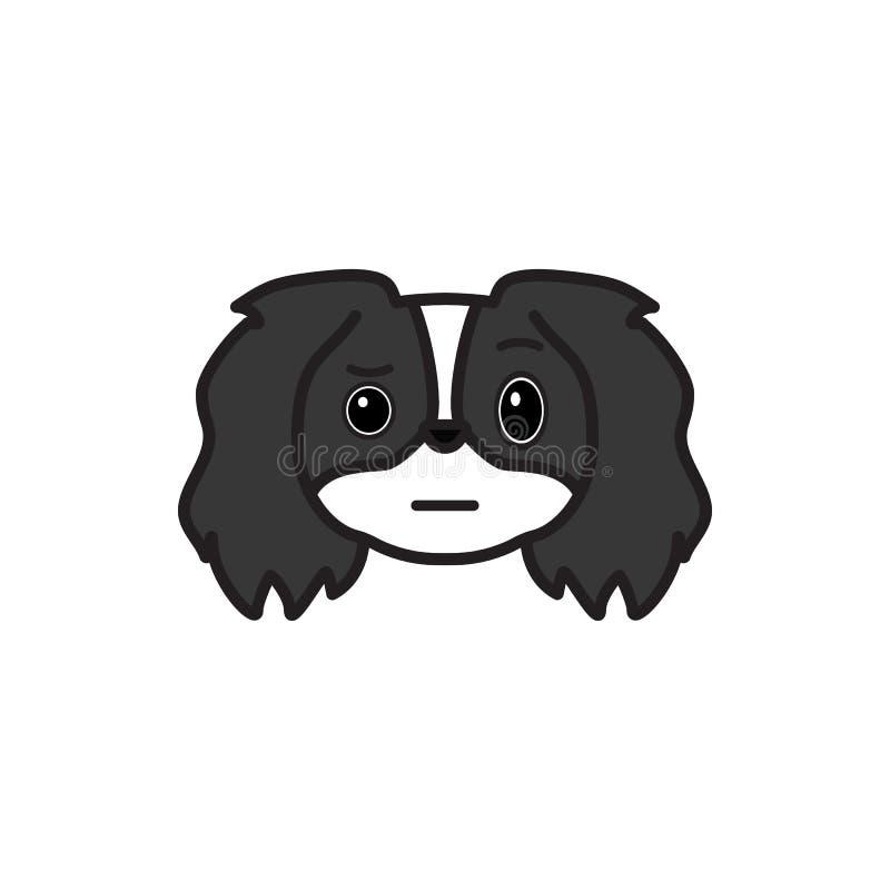 Pequinês, emoji, ícone colorido incerto Os sinais e o ícone dos símbolos podem ser usados para a Web, logotipo, app móvel, UI UX ilustração stock