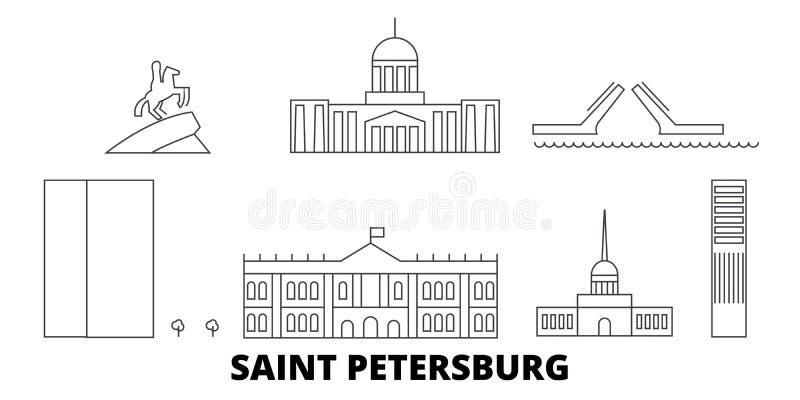Perímetro urbano grupo de Rússia, St Petersburg da skyline do curso Ilustração do vetor da cidade do esboço da cidade de Rússia,  ilustração do vetor