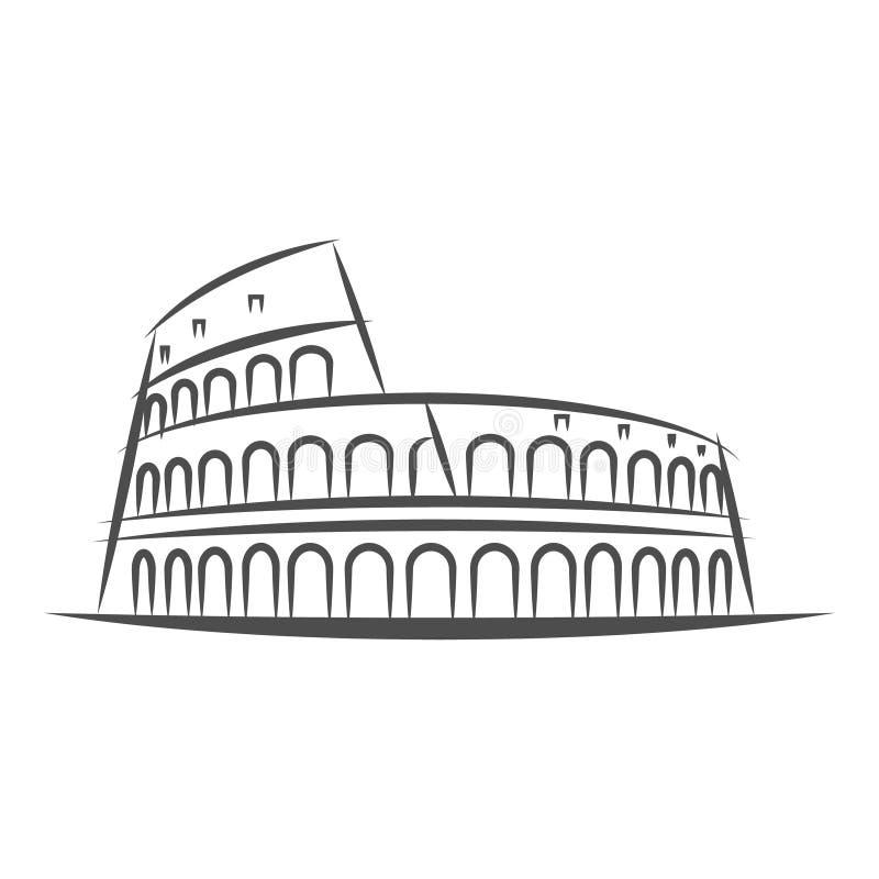 Perímetro urbano ilustração de Roma do estilo Marco famoso de Colosseum em Roma Símbolo da cidade da arquitetura de Itália esboço ilustração royalty free